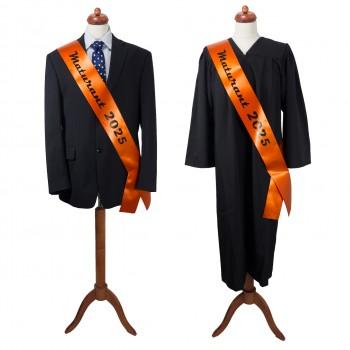 Maturitná šerpa tmavo oranžová- saténová