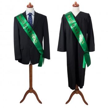 Maturitní šerpa tmavě zelená - saténová