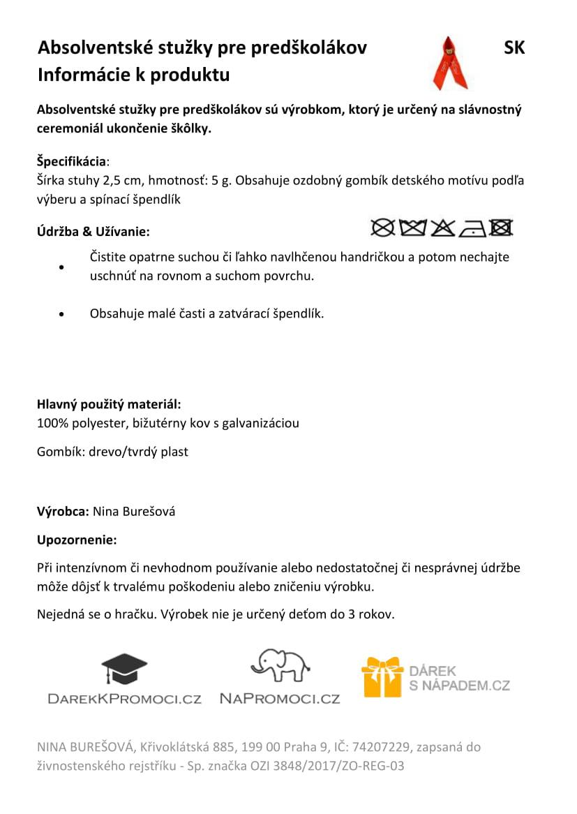 Produktová karta – absolventská stužka pro předškoláky
