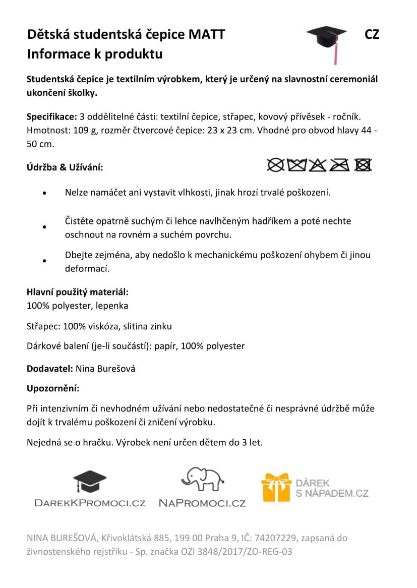 Produktová karta – dětská studentská čepice