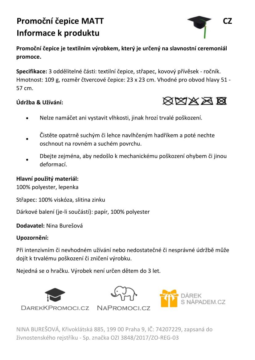 Produktová karta – studentská čepice k promoci