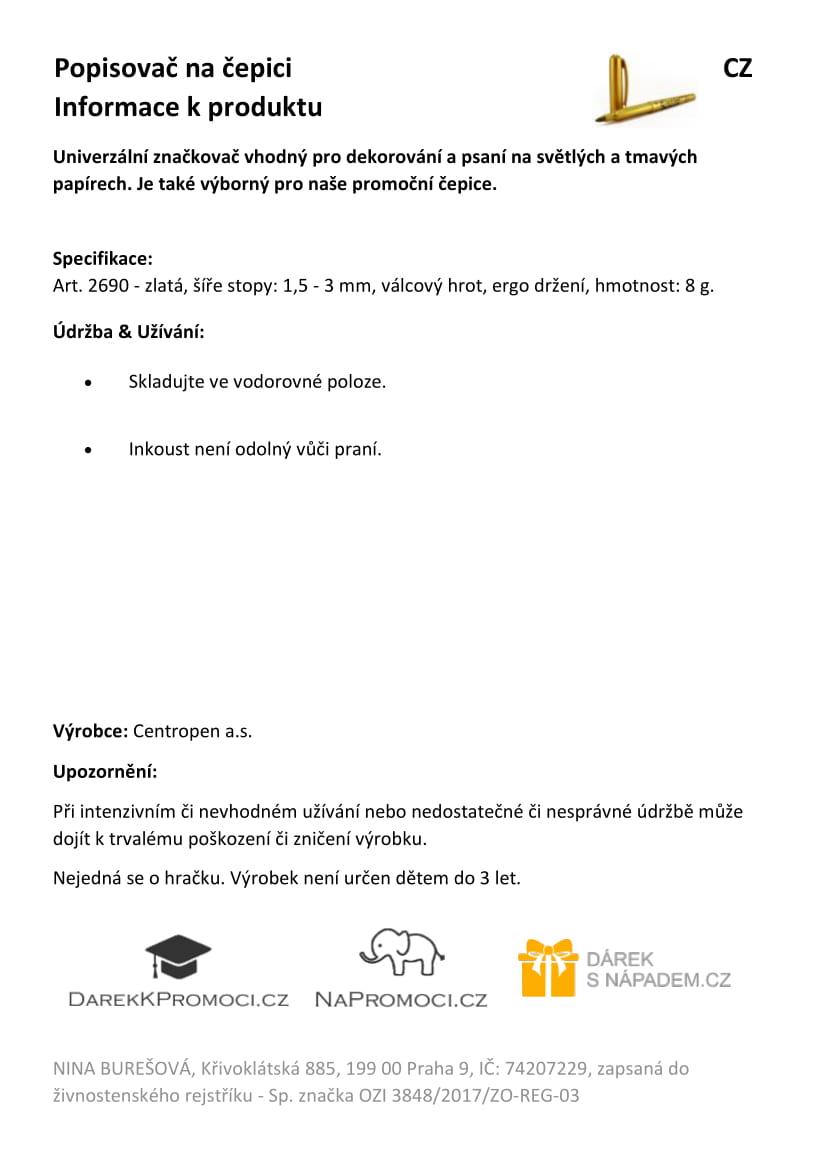 Produktová karta – popisovač na studentskou promoční čepice