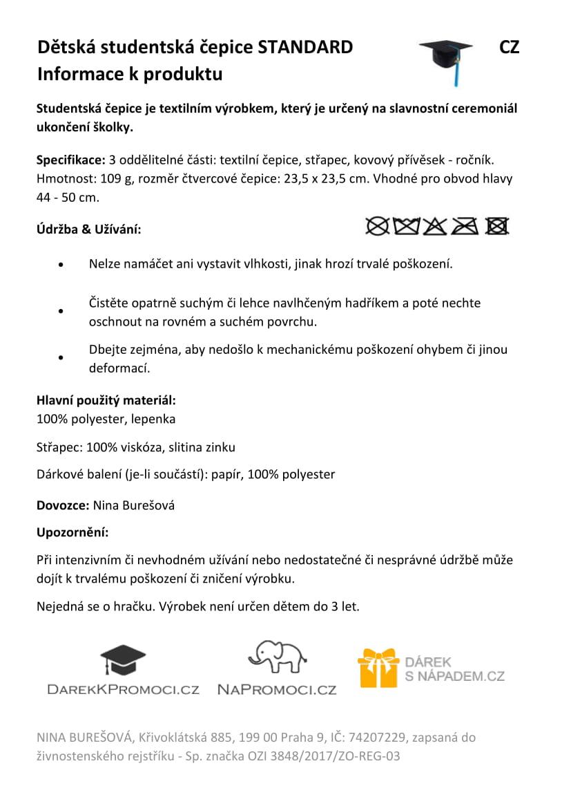 Produktová karta – dětská studentská promoční čepice